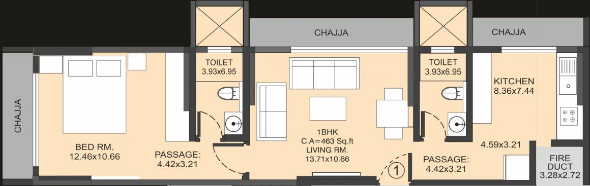 Floor Plan Image of 463 - 700 Sq.ft 1 BHK Apartment for buy in Morphosis Adagio