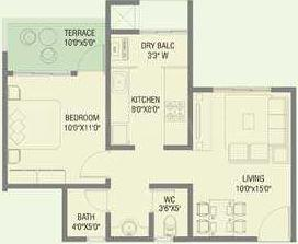 DNV Elite Homes Floor Plan: 1 BHK Unit with Built up area of 638 sq.ft 1