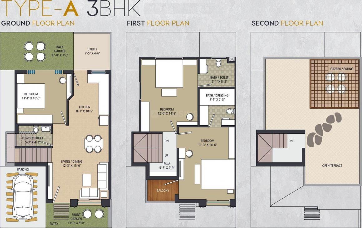 Shashwat ParkRest Floor Plan: 3 BHK Unit with Built up area of 860 sq.ft 1