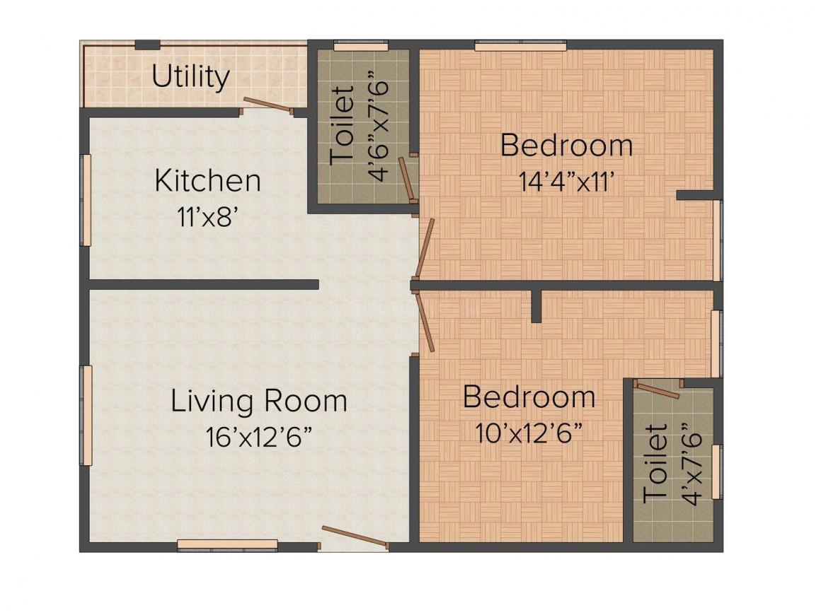 Floor Plan Image of 1100.0 - 1550.0 Sq.ft 2 BHK Apartment for buy in Savvy's Tulip Sai Nivas- II & III