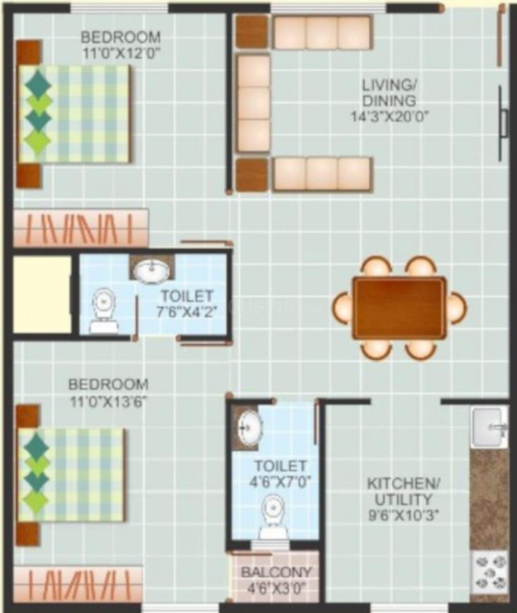Tejashree Sapthagiri Nilayamu Floor Plan: 2 BHK Unit with Built up area of 1088 sq.ft 1