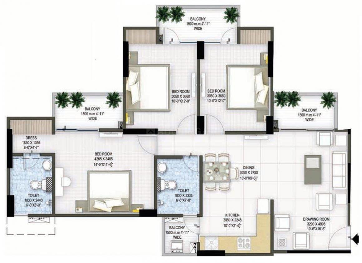 Panchsheel Pratishtha Floor Plan: 3 BHK Unit with Built up area of 1495 sq.ft 1