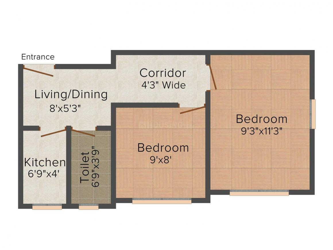 Floor Plan Image of 464 - 751 Sq.ft 1 BHK Apartment for buy in Swasti Aryasree Apartment