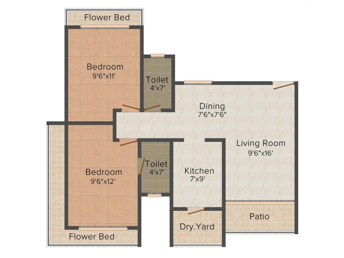 Floor Plan Image of 695.0 - 1275.0 Sq.ft 1 BHK Apartment for buy in Raj Lifestyle