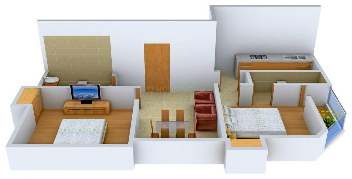 Floor Plan Image of 0 - 1000 Sq.ft 2 BHK Apartment for buy in TK Pearl