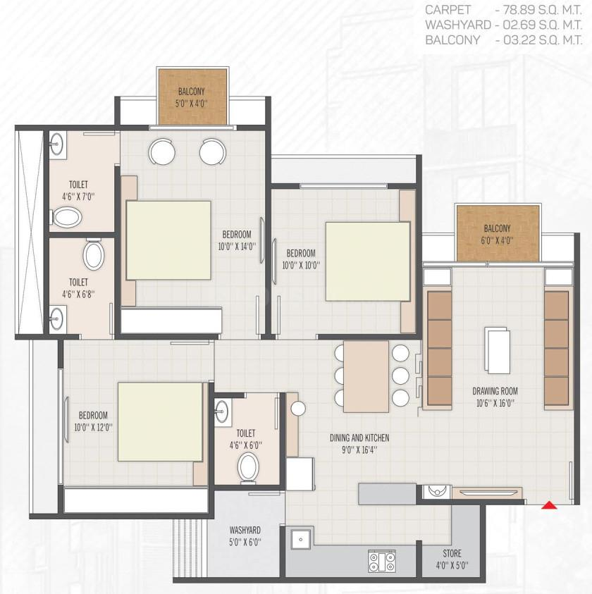 Ayan Floor Plan: 3 BHK Unit with Built up area of 849 sq.ft 1