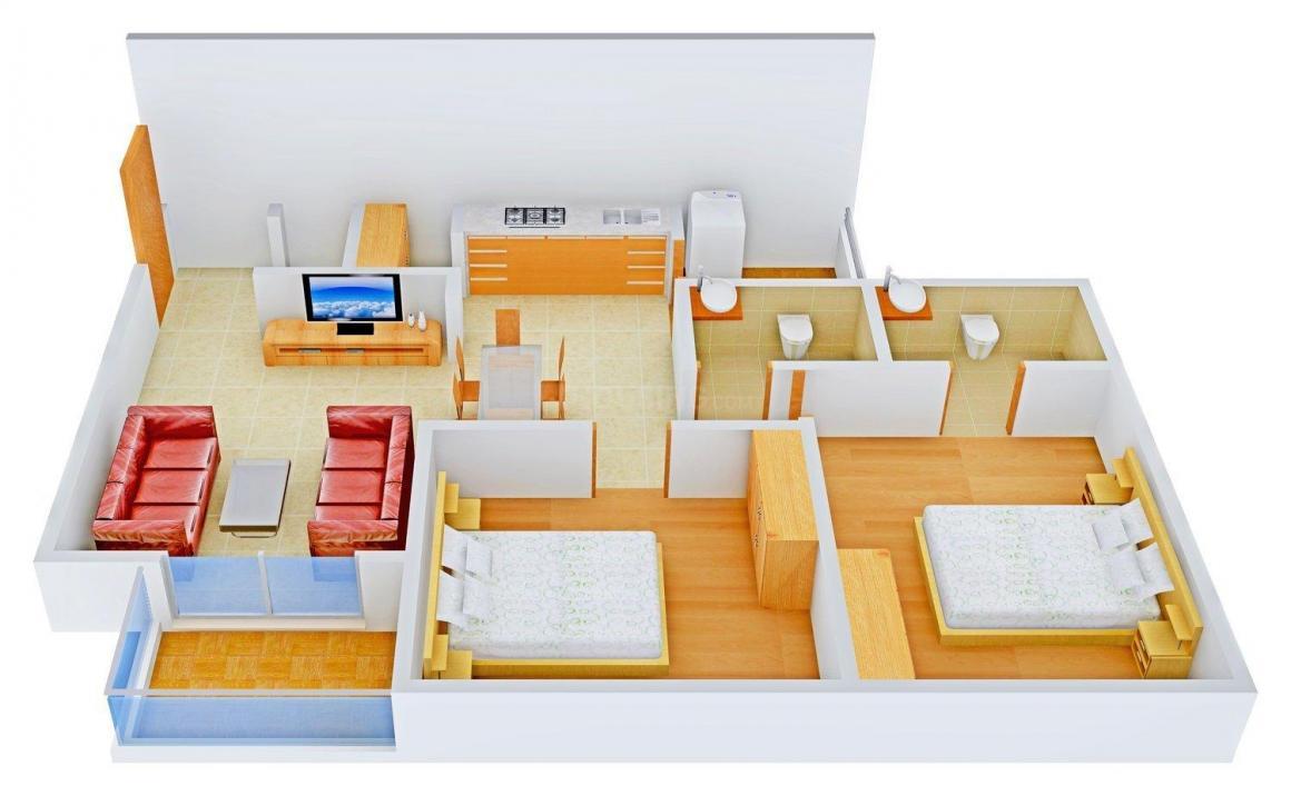 Shivpooja Aashka Elegance Floor Plan: 2 BHK Unit with Built up area of 1305 sq.ft 1