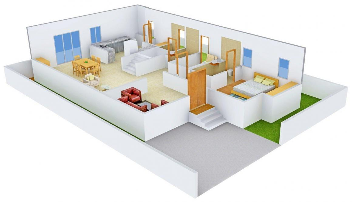 Pavani Harmony Floor Plan: 3 BHK Unit with Built up area of 2677 sq.ft 1