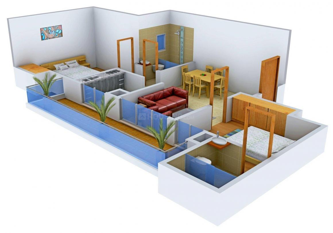TDI Lake Side Heights Floor Plan: 2 BHK Unit with Built up area of 1170 sq.ft 1