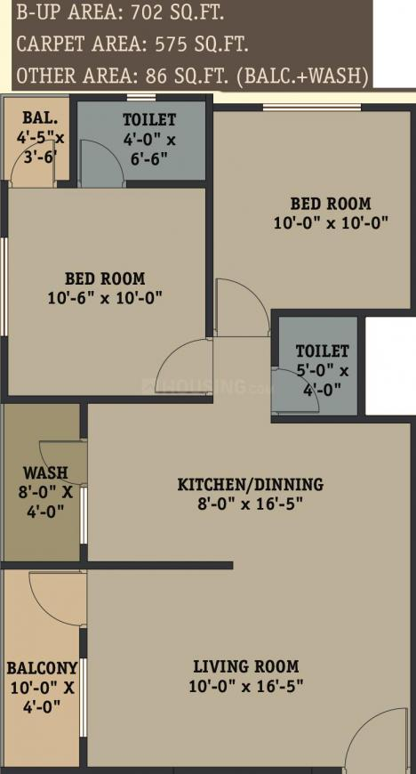 Shyamal Park Floor Plan: 2 BHK Unit with Built up area of 661 sq.ft 1