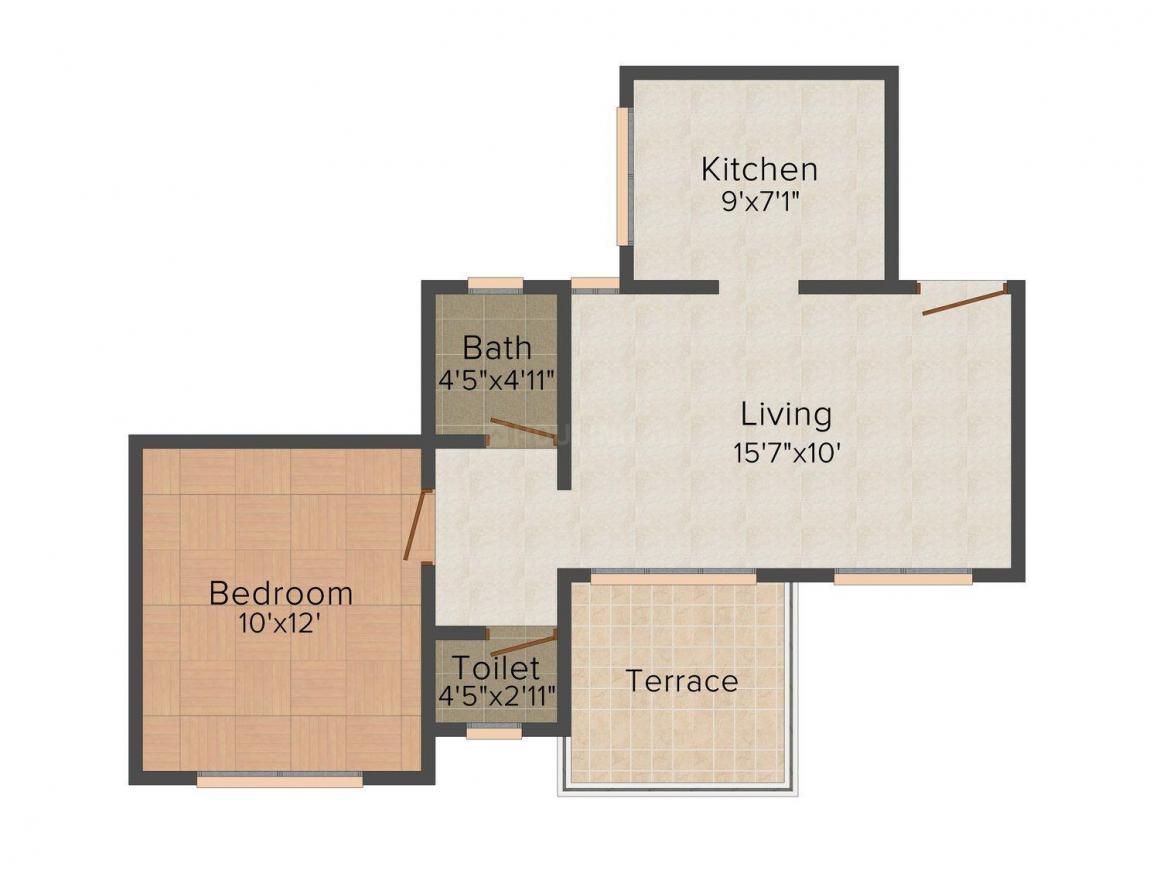 Floor Plan Image of 0 - 625.0 Sq.ft 1 BHK Apartment for buy in Payal Homes