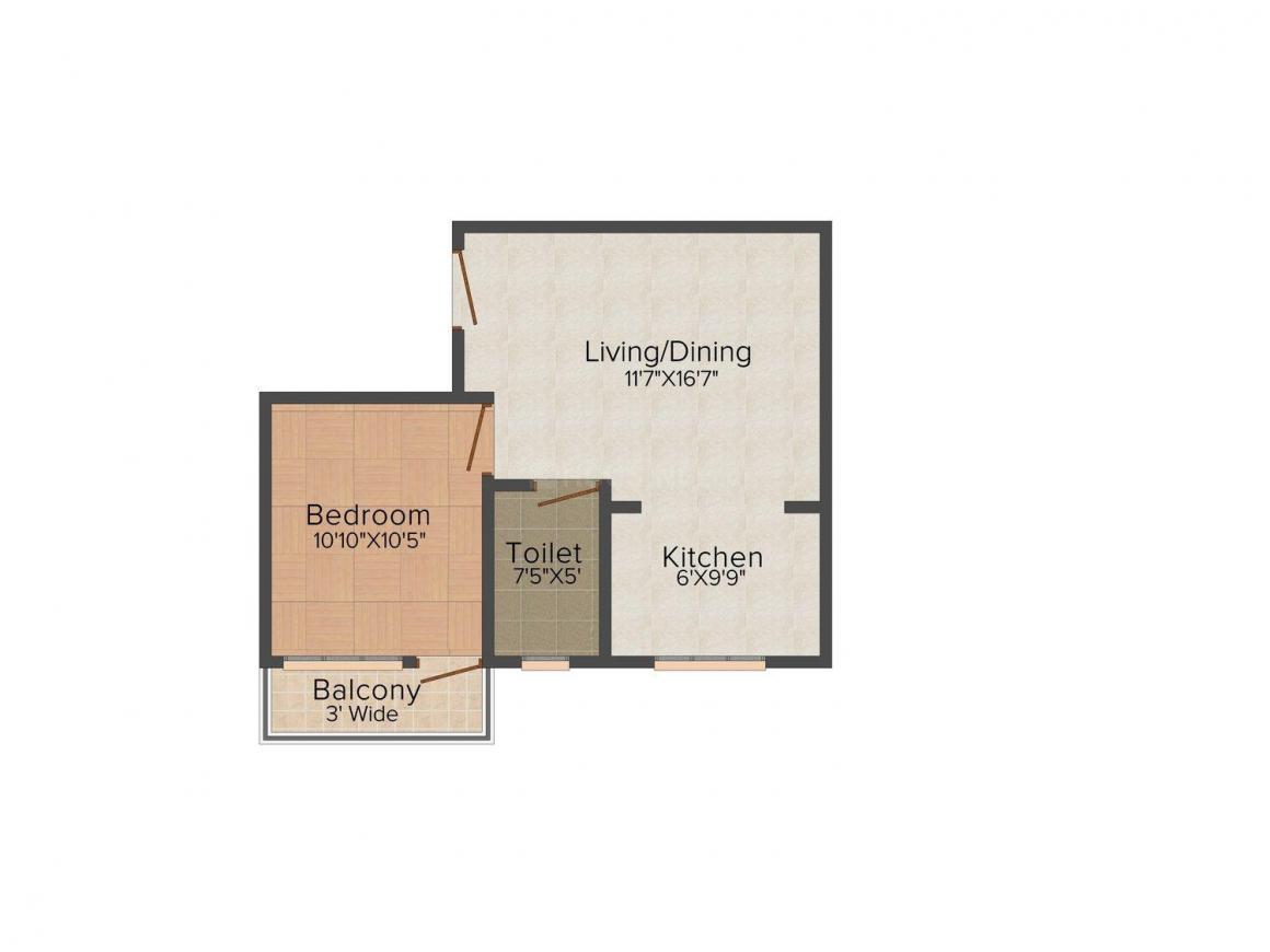 Floor Plan Image of 652.0 - 1260.0 Sq.ft 1 BHK Apartment for buy in Bengal Vasundhara Vasundhara Tower
