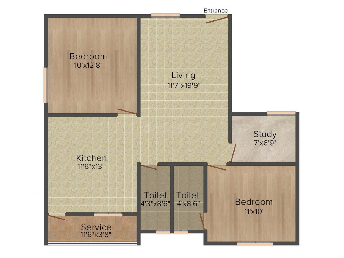 Floor Plan Image of 0 - 1100 Sq.ft 2.5 BHK Apartment for buy in Sree Harsham