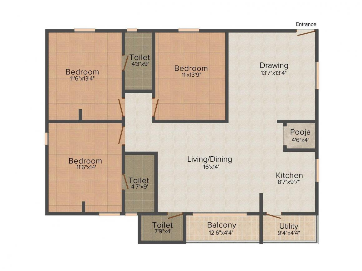 Floor Plan Image of 1750.0 - 1850.0 Sq.ft 3 BHK Apartment for buy in RV's Citin Loft