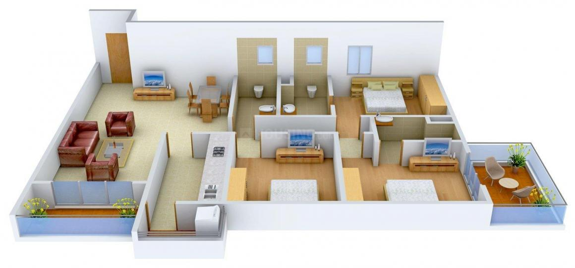 Arch Starwood Floor Plan: 3 BHK Unit with Built up area of 1852 sq.ft 1