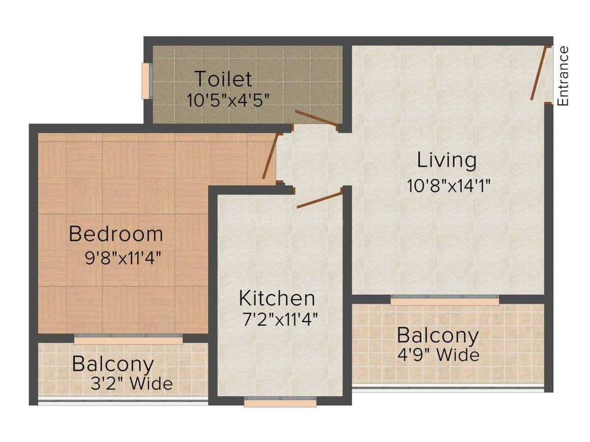 Floor Plan Image of 0 - 700.0 Sq.ft 1 BHK Apartment for buy in Sadhana Dhaval Hills