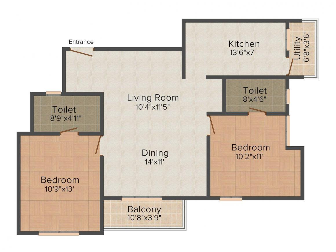 Floor Plan Image of 1055 - 1530 Sq.ft 2 BHK Apartment for buy in Trisquare Vedha