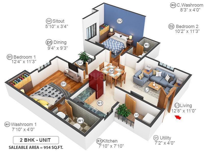 Kgeyes Samyuktha Floor Plan: 2 BHK Unit with Built up area of 954 sq.ft 2