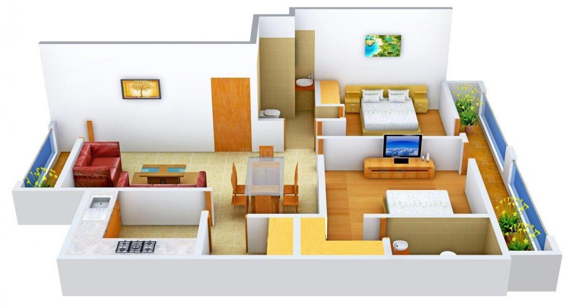 TDI Casa Floors Floor Plan: 2 BHK Unit with Built up area of 1042 sq.ft 1