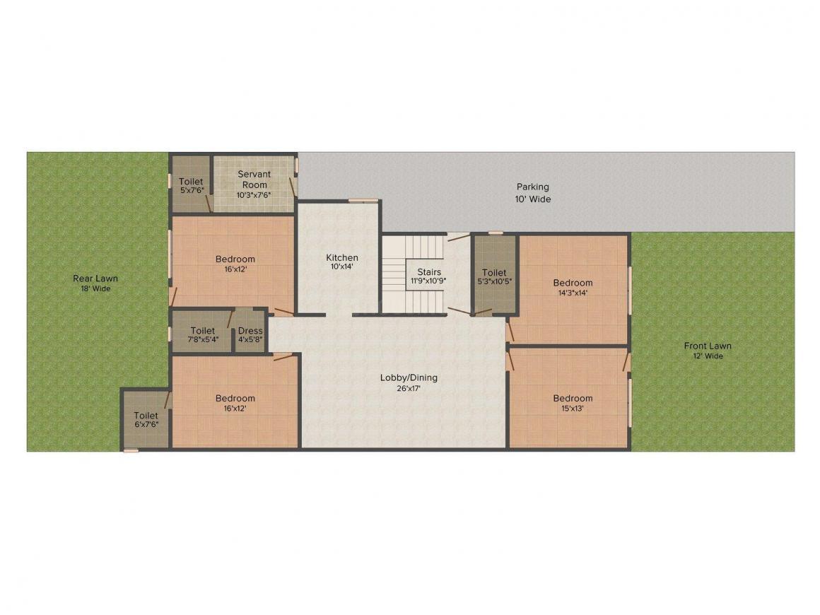 Gupta Ji Floors, A - 1849 Floor Plan: 4 BHK Unit with Built up area of 2500 sq.ft 1