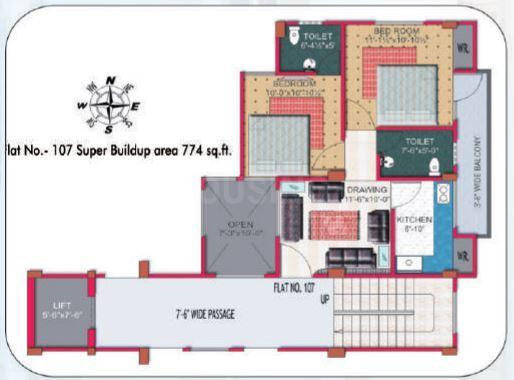 Dhairya Residency Floor Plan: 2 BHK Unit with Built up area of 774 sq.ft 1