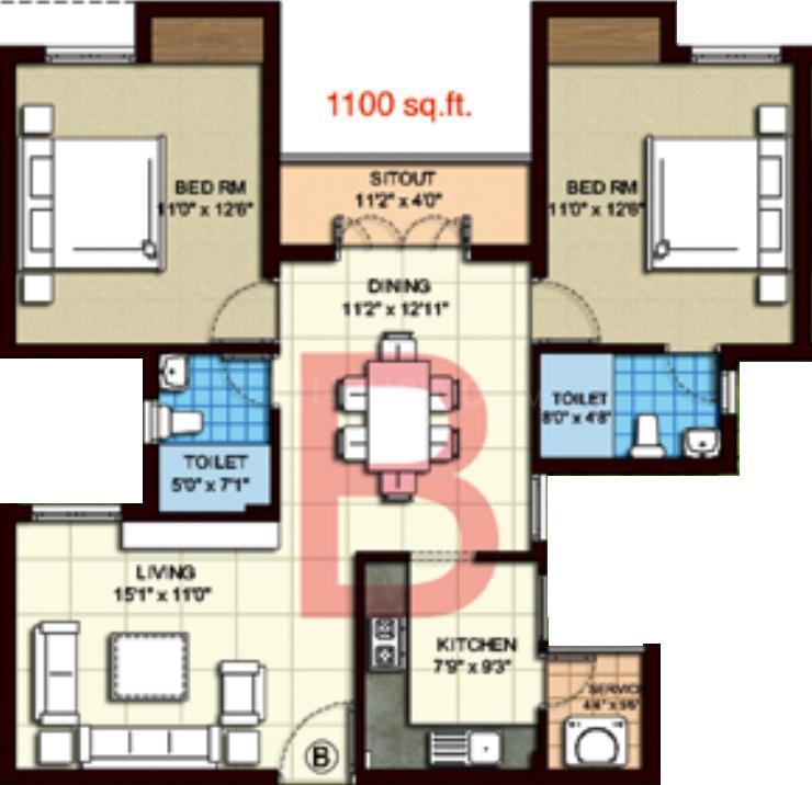 Kgeyes Thiruvanmyur H38 Floor Plan: 2 BHK Unit with Built up area of 1100 sq.ft 1