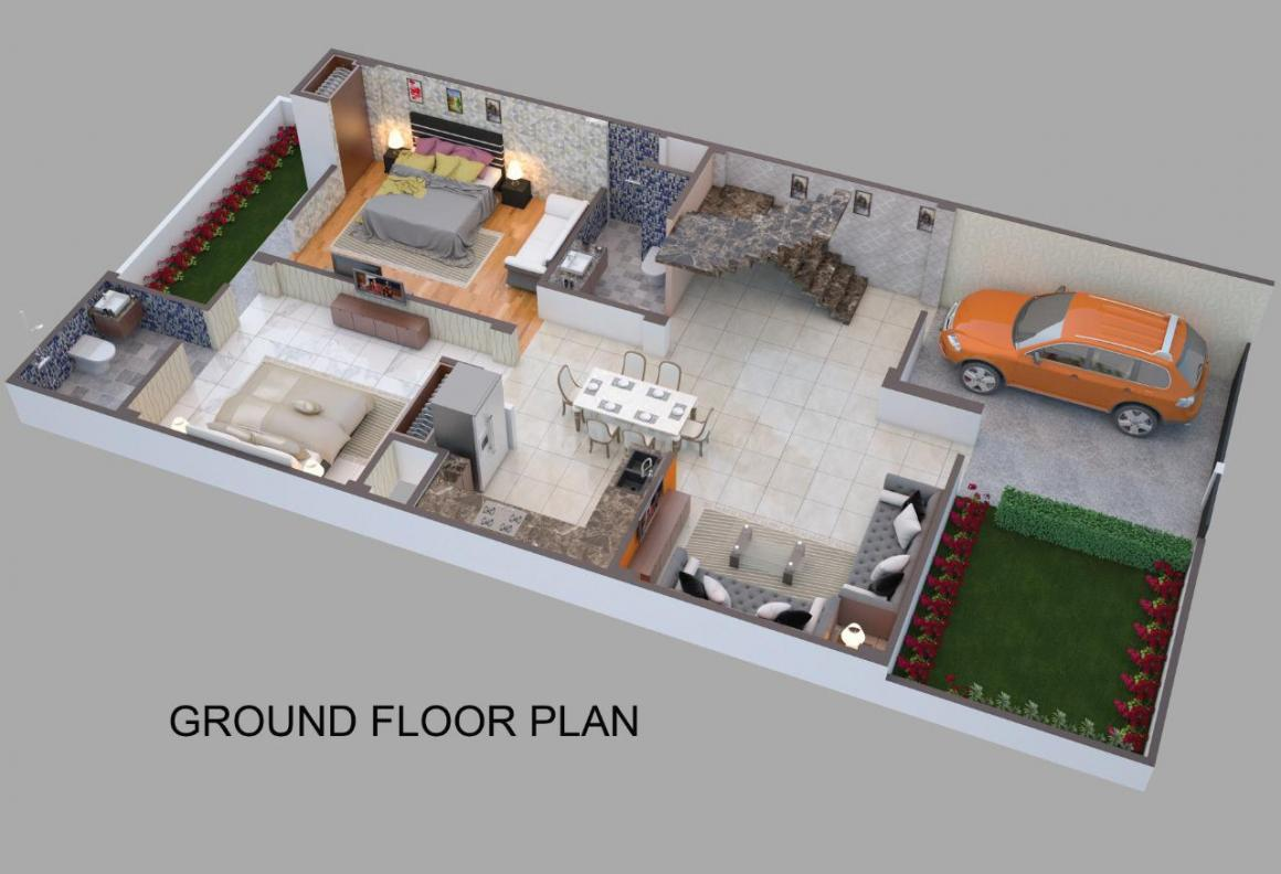 Keon Residency Villa Floor Plan: 3 BHK Unit with Built up area of 2550 sq.ft 1
