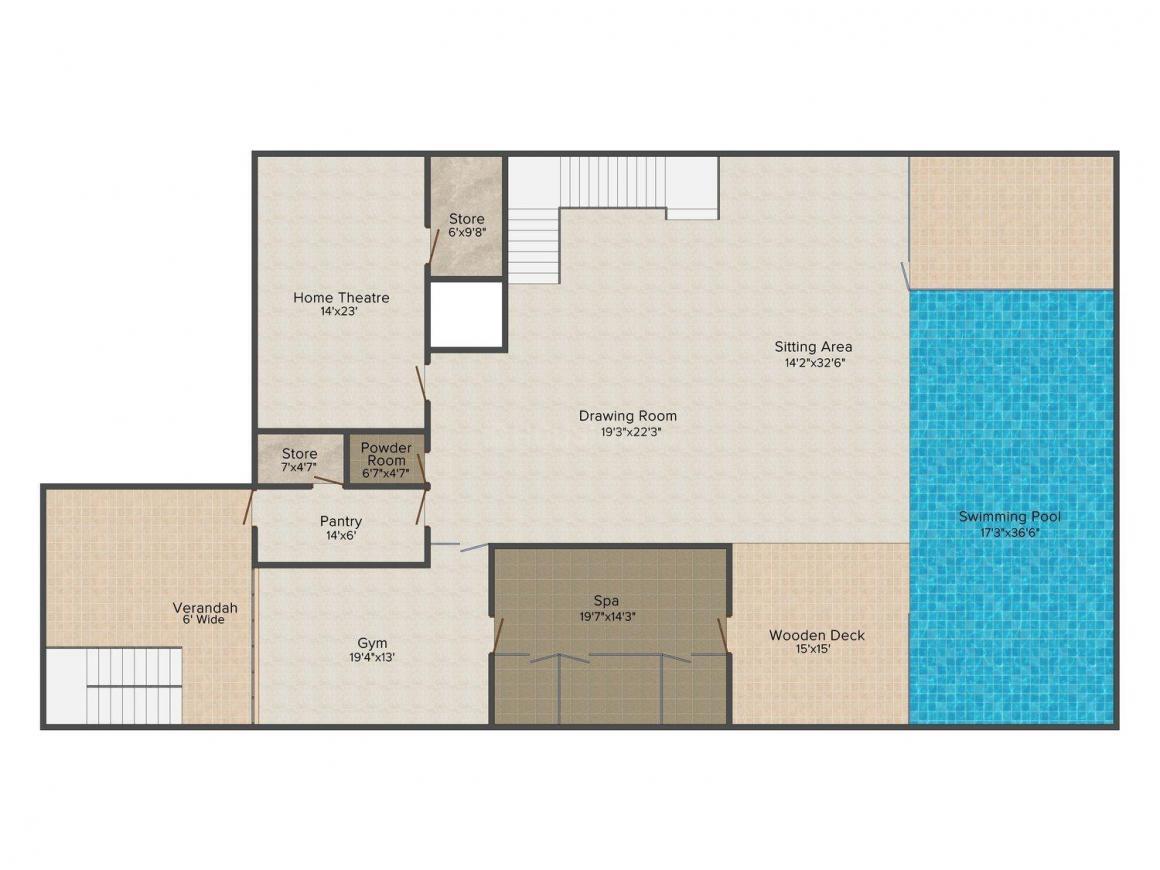 Jain Villa - 12 Floor Plan: 5 BHK Unit with Built up area of 4500 sq.ft 2