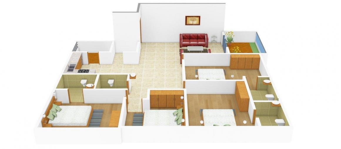 Arth Shashwat Floor Plan: 4 BHK Unit with Built up area of 2520 sq.ft 1