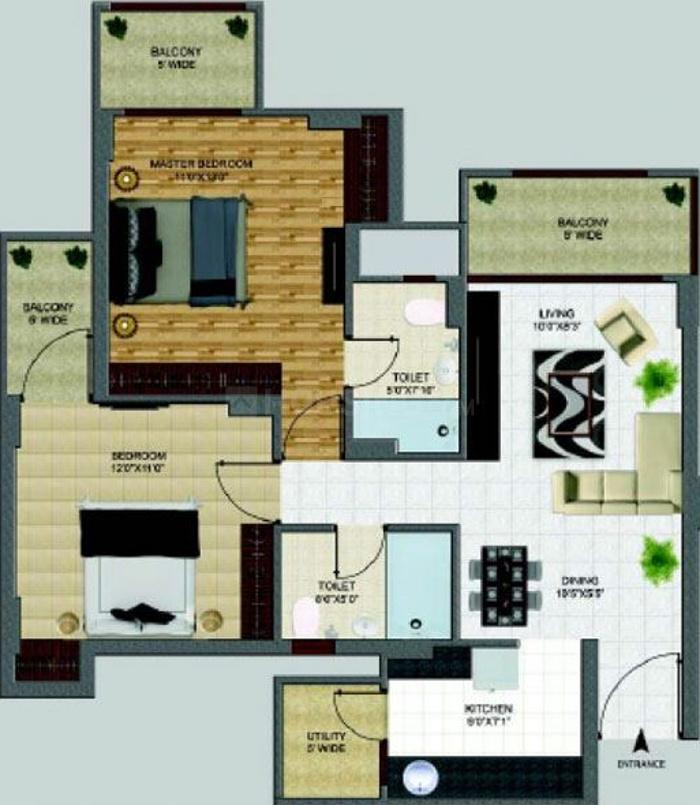 Shri Radha Sky Gardens Floor Plan: 2 BHK Unit with Built up area of 1182 sq.ft 1