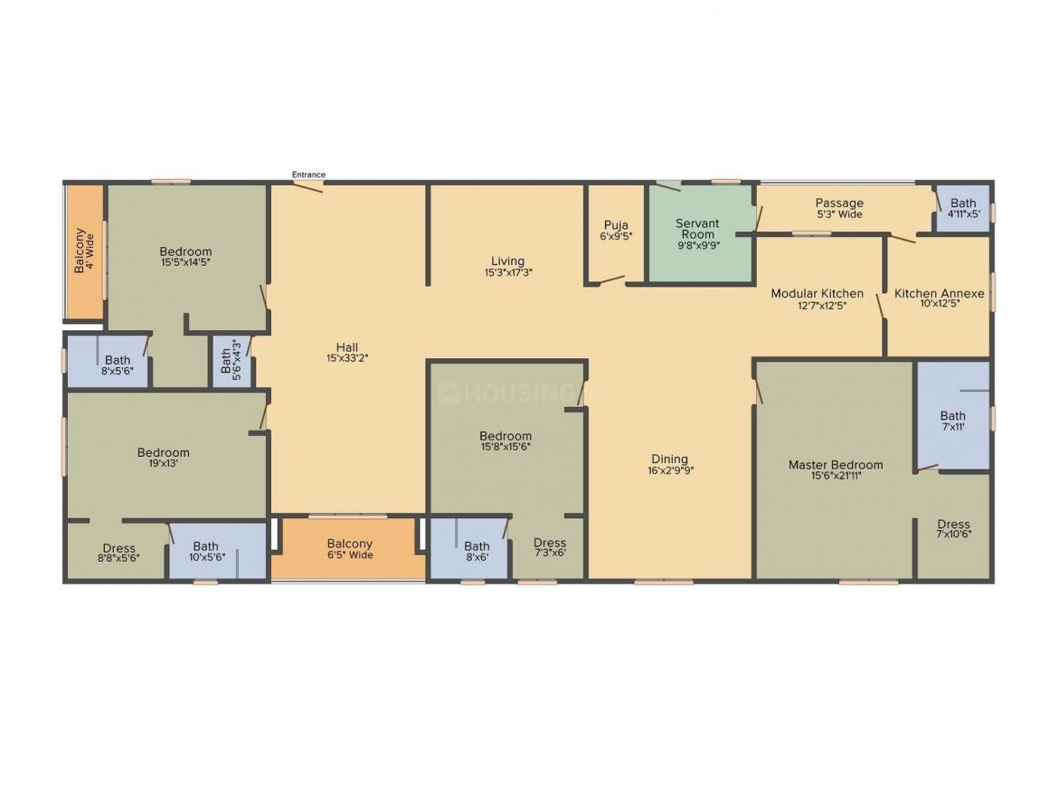 Legend Pranav Floor Plan: 4 BHK Unit with Built up area of 4502 sq.ft 1