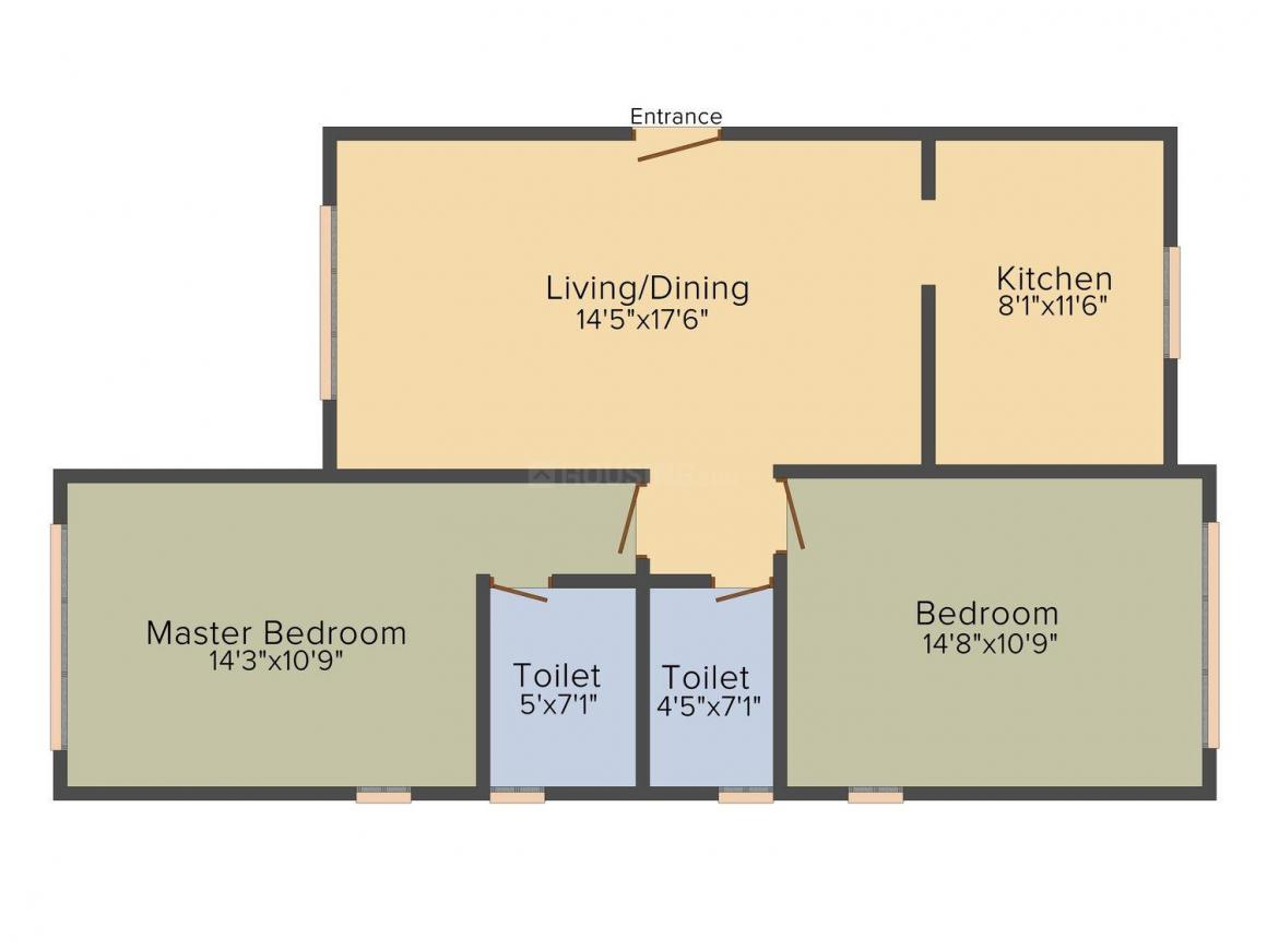 Floor Plan Image of 745.0 - 746.0 Sq.ft 2 BHK Apartment for buy in Suraj Lumiere Apartments