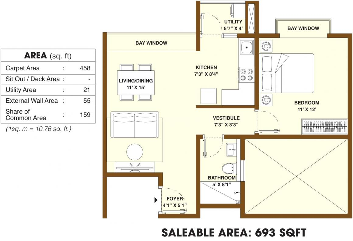 Bhartiya Nikoo Homes 2 Floor Plan: 1 BHK Unit with Built up area of 693 sq.ft 1