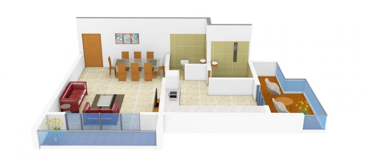 Floor Plan Image of 455.0 - 635.0 Sq.ft 1 RK Apartment for buy in Global Trikon Residency
