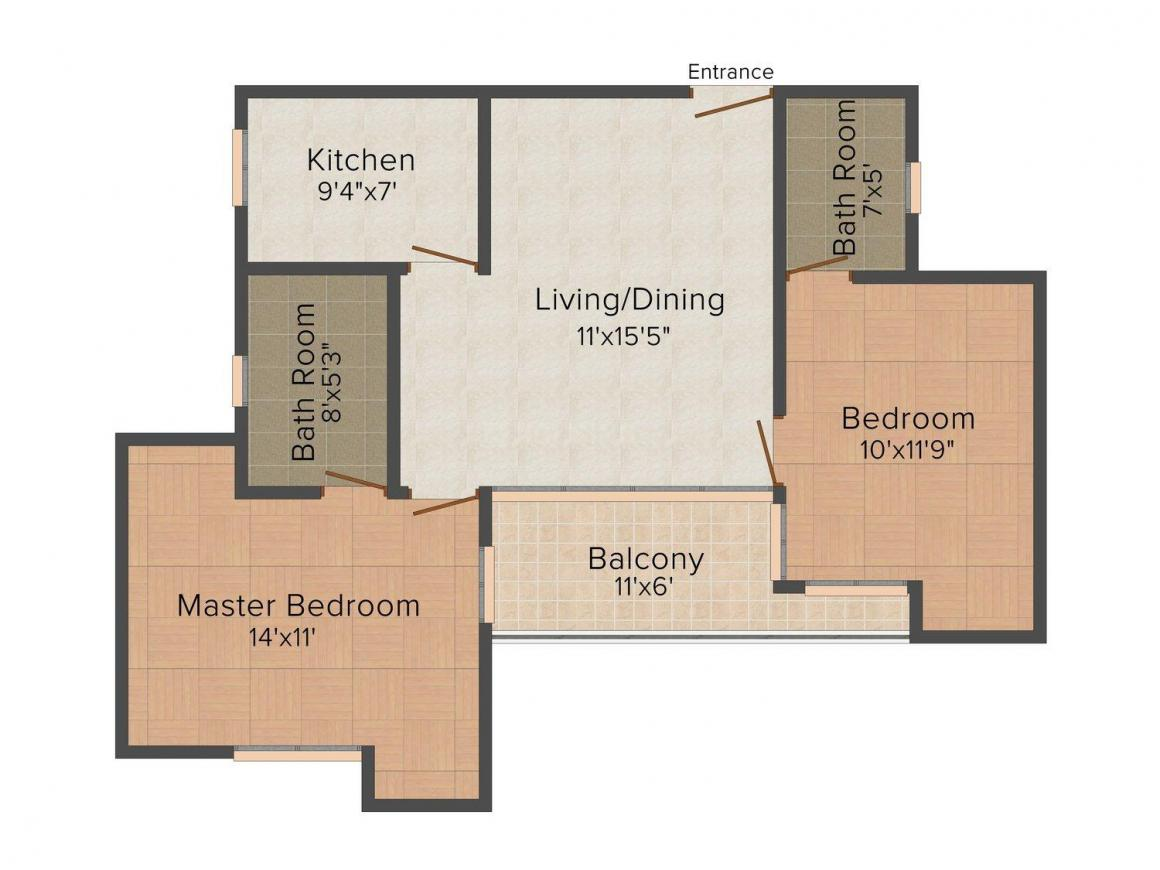 Gulshan Gokul Bliss Floor Plan: 2 BHK Unit with Built up area of 1000 sq.ft 1