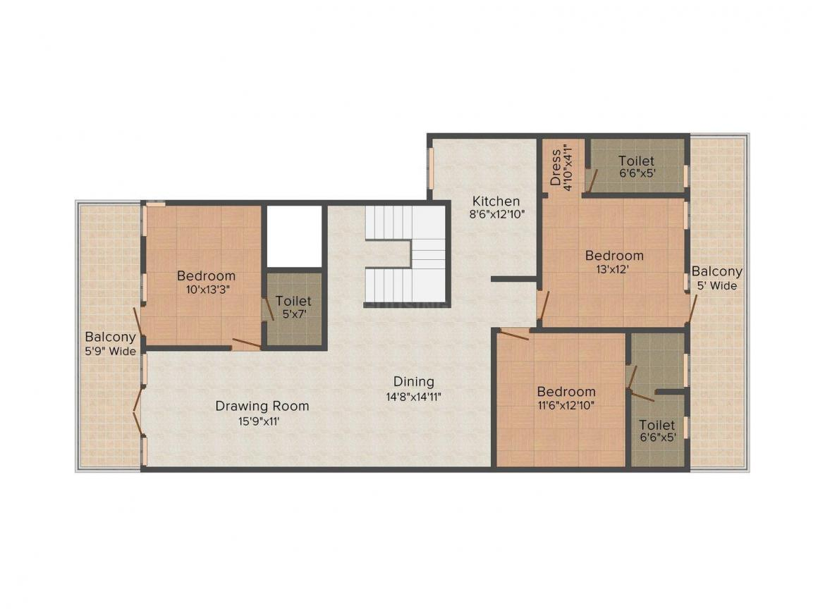 United H - 35 Aaron Ville Floor Plan: 3 BHK Unit with Built up area of 1700 sq.ft 1