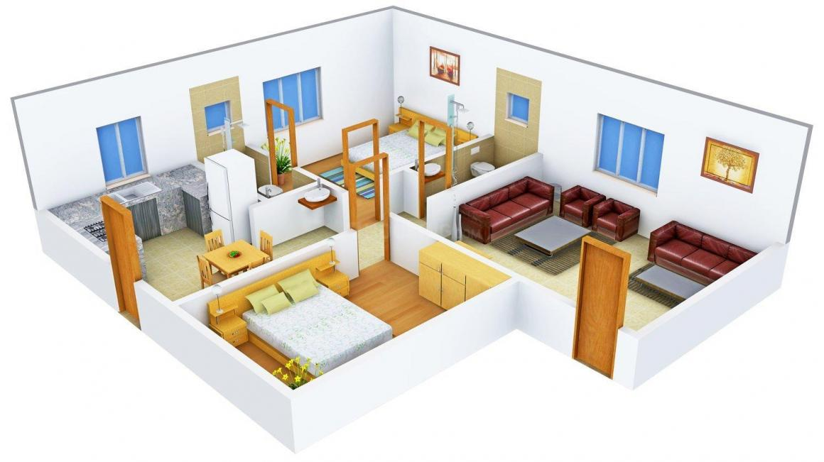 Floor Plan Image of 1075.0 - 1330.0 Sq.ft 2 BHK Apartment for buy in Ashraya