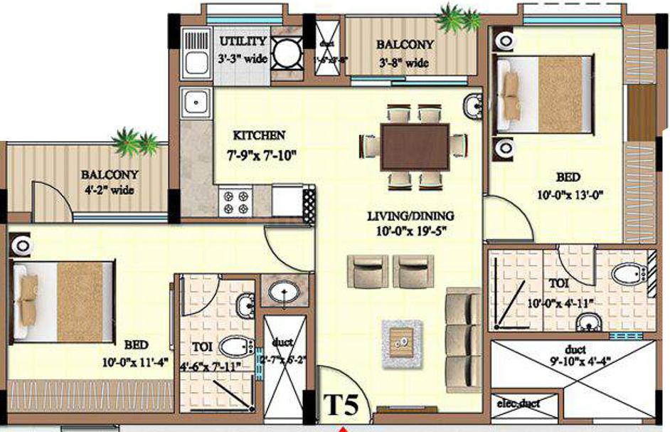 Ahad Excellencia Floor Plan: 2 BHK Unit with Built up area of 941 sq.ft 2