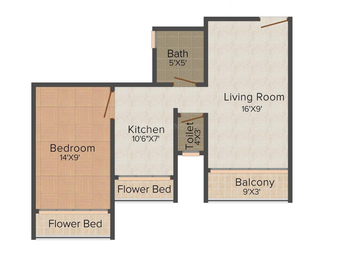Floor Plan Image of 532 - 980 Sq.ft 1 BHK Apartment for buy in Omkar Krupa The Pearl