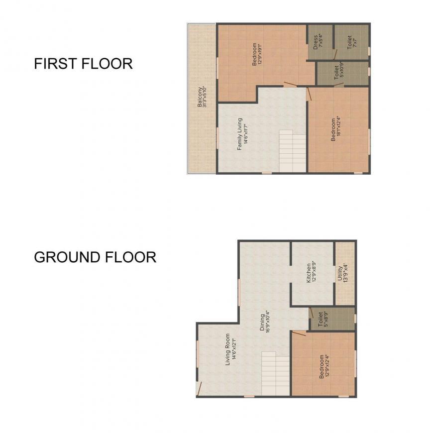 Floor Plan Image of 2125.0 - 2708.0 Sq.ft 3 BHK Villa for buy in MMRF Vista Oceana
