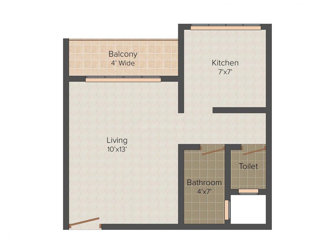 Floor Plan Image of 446 - 478 Sq.ft 1 RK Apartment for buy in Aarya Residency