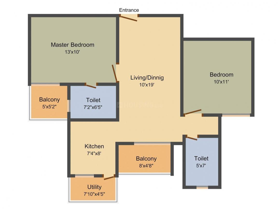 Floor Plan Image of 880.0 - 1690.0 Sq.ft 2 BHK Apartment for buy in Daadys Elixir
