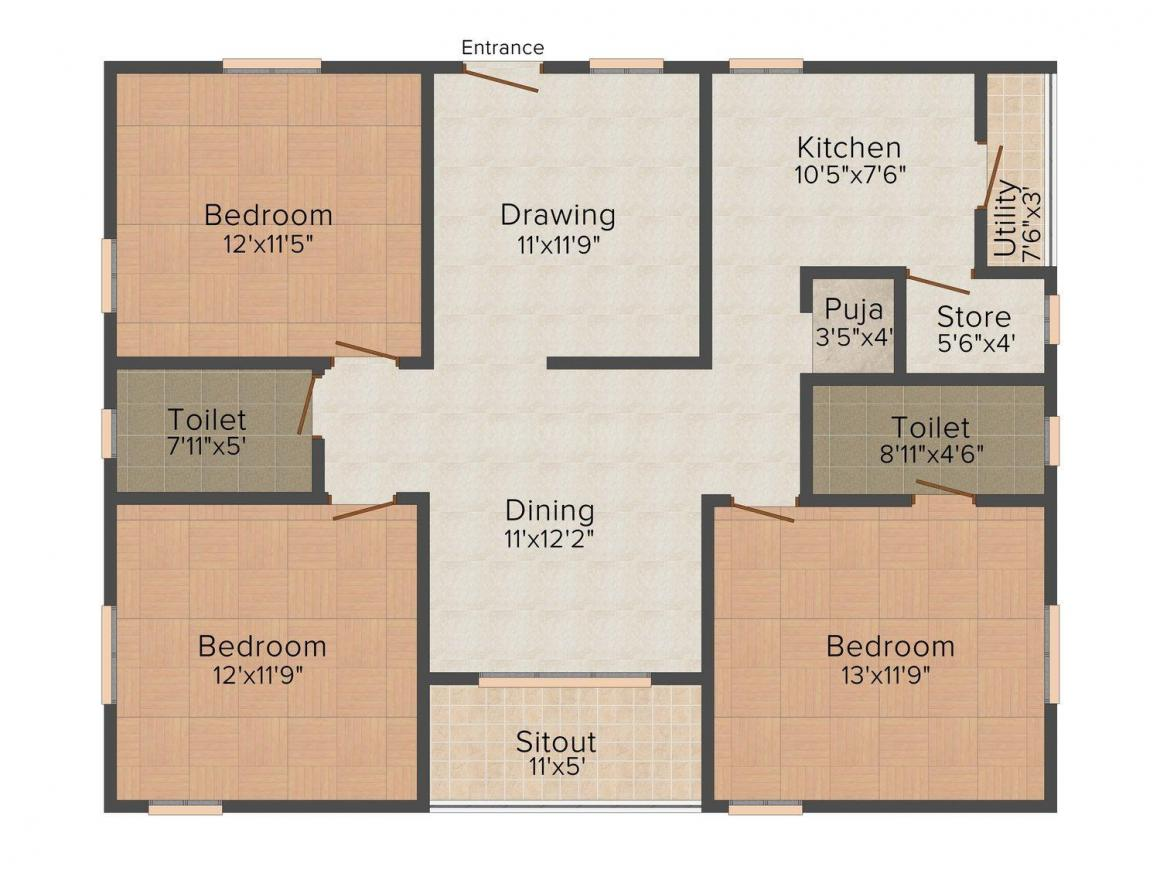 Floor Plan Image of 0 - 1480.0 Sq.ft 3 BHK Apartment for buy in Home Line Deepa Residency