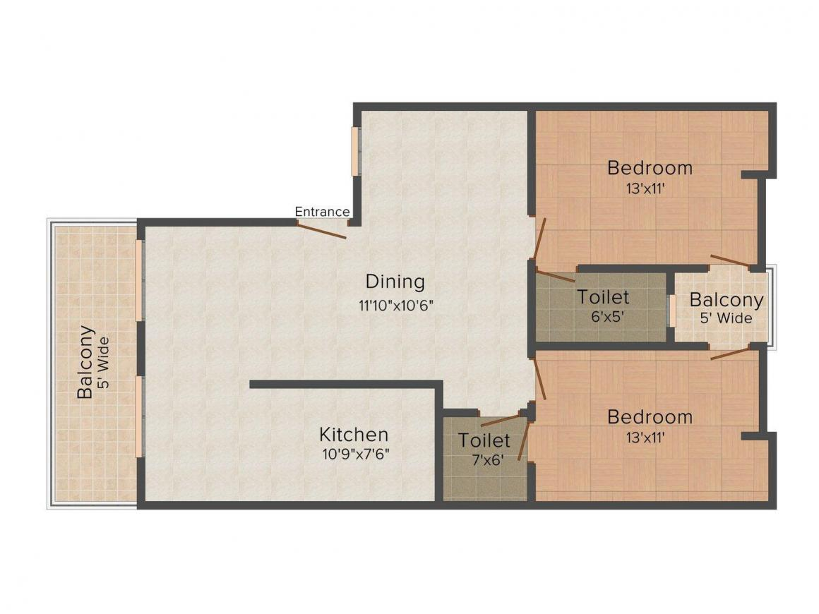Radha Madhava 2 Floor Plan: 2 BHK Unit with Built up area of 900 sq.ft 1