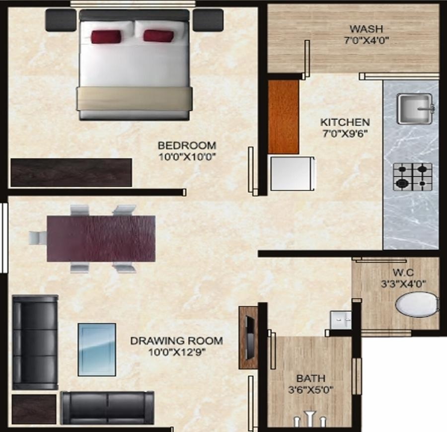 Maruti Heights Floor Plan: 1 BHK Unit with Built up area of 684 sq.ft 1