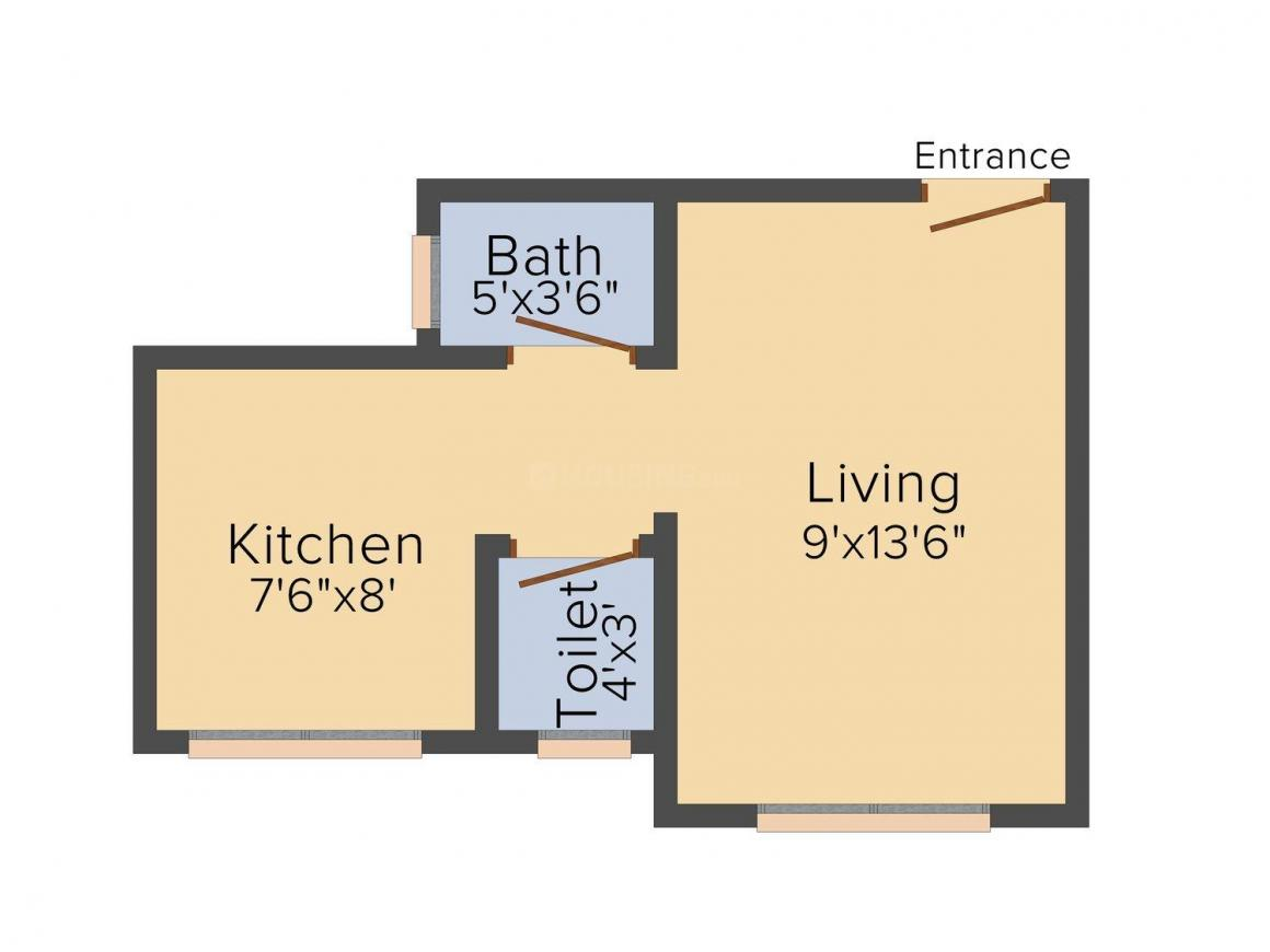 Floor Plan Image of 315.0 - 520.0 Sq.ft 1 RK Apartment for buy in Om Sai Sales Ashray Plaza