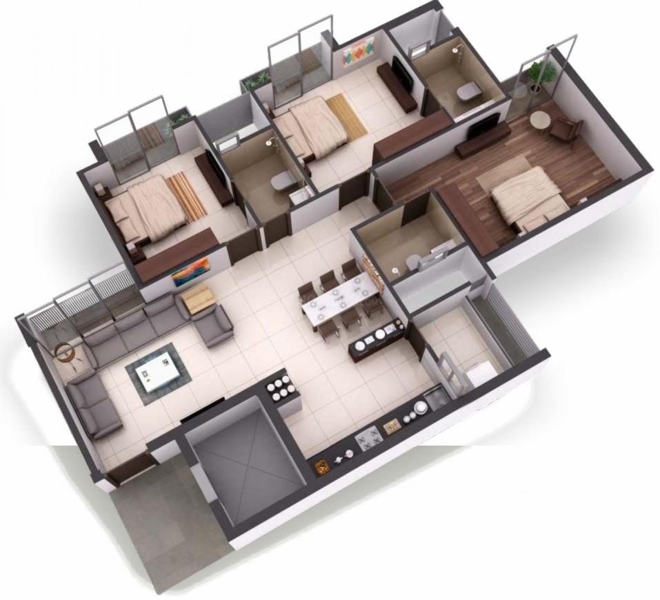 Goyal Orchid Heaven Floor Plan: 3 BHK Unit with Built up area of 1725 sq.ft 1