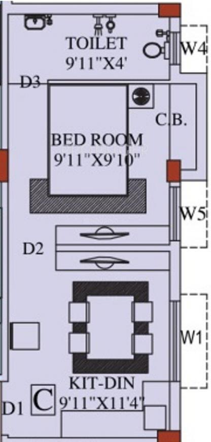 Eden Belvedere Floor Plan: 1 BHK Unit with Built up area of 400 sq.ft 1