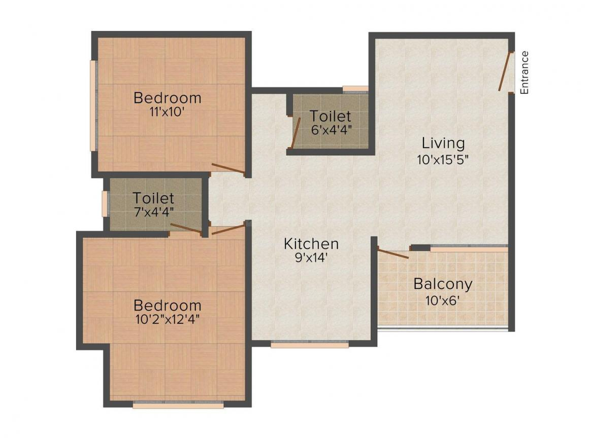 Floor Plan Image of 0 - 890.0 Sq.ft 2 BHK Apartment for buy in Shreeyog Shree Niketan