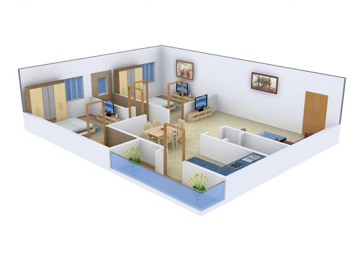 Space Vision Ramya Heights Floor Plan: 2 BHK Unit with Built up area of 1126 sq.ft 1